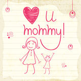 Lycklig mors dagberöm med tecknad filmflickan och stilfull text Royaltyfri Fotografi