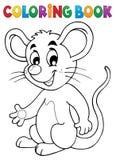 Lycklig mus för färgläggningbok royaltyfri illustrationer