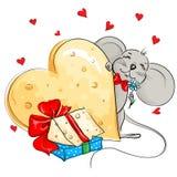 Lycklig mus med en enorm hjärta som göras av ost Royaltyfri Foto