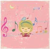 Lycklig musikdesign med lilla flickan. Royaltyfria Foton