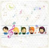 Lycklig musikdesign med lilla flickan. Arkivfoto