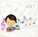 Lycklig musikdesign med lilla flickan. Arkivbilder