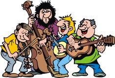 Lycklig musikmusikband Arkivfoto