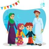 Lycklig muslimsk familj med Ramadan Icons royaltyfri illustrationer