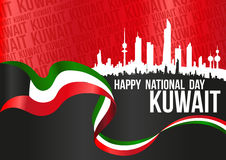 Lycklig nationell dag Kuwait - horisontalaffisch royaltyfri illustrationer