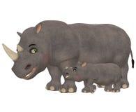 lycklig noshörning för familj Arkivfoto