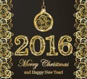 Lycklig ny 2016 år guld- bakgrund Royaltyfri Fotografi