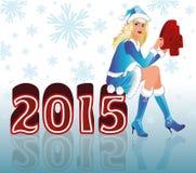 Lycklig ny 2015 år och jultomtenflicka Royaltyfri Bild