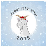 Lycklig ny 2015 år vykort med den roliga geten Arkivbild