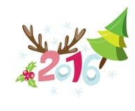 Lycklig ny 2016 år affischmall Bakgrund för Stulish hälsningkort Feriebakgrund Nya år inbjudan med sörjer trädet Arkivbilder