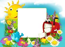 Lycklig och färgrik ram för barnen Fotografering för Bildbyråer