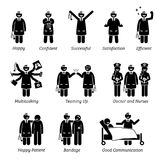 Lycklig och gladlynt doktor vektor illustrationer