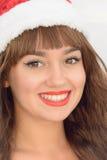 Lycklig och härlig flicka Santa Claus Royaltyfria Foton