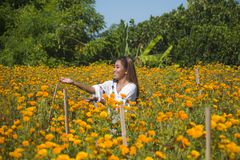 Lycklig och härlig ung asiatisk kvinna som kopplar av tycka om fresna Arkivbilder