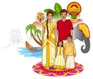 Lycklig Onam bakgrund i indisk konststil Royaltyfri Foto