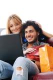 lycklig online-shopping Royaltyfria Bilder