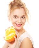 lycklig orange kvinna royaltyfria foton