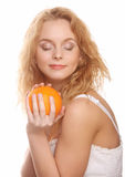 lycklig orange kvinna royaltyfri foto