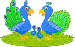 Lycklig påfågelfamiljtecknad film Royaltyfri Illustrationer