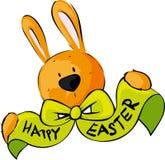 Lycklig påskönskapilbåge Bunny Vector Illustration royaltyfri illustrationer
