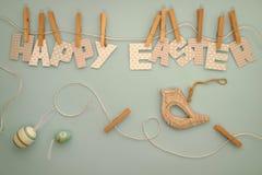 Lycklig påsk - bokstavskläderlinje 3 Royaltyfri Fotografi