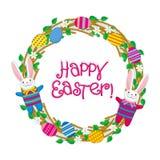 Lycklig påsk för hälsningkort med den dekorativa kransen Arkivbild