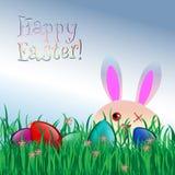 Lycklig påsk! Hälsningkort, roliga Bunny Grass Eggs Fotografering för Bildbyråer