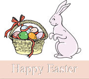 Lycklig påsk, hare, en korg av ägg Arkivbilder