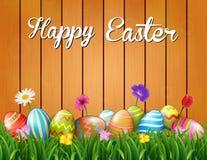 Lycklig påsk med blommor och kulöra ägg i gräset på träbakgrunden stock illustrationer