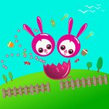 Lycklig påsk med duettkaninen vektor illustrationer