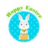 Lycklig påsk med påskkaninen vektor Arkivbilder