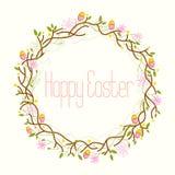 Lycklig påsk, påskkrans Arkivfoton