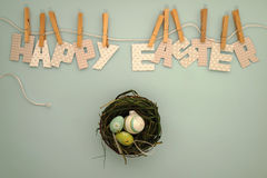 Lycklig påsk - rede med ägg Royaltyfri Foto