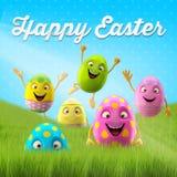 Lycklig påsk som förbluffar 3D vykortet, baner, bakgrund Arkivbild