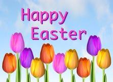 Lycklig påsk Tulip Card Royaltyfri Fotografi