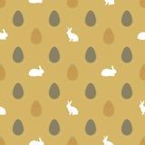 Lycklig påskbakgrund med ägg och kaniner Royaltyfri Bild