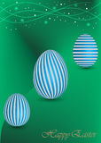 Lycklig påskbakgrund med ett grönt ägg Royaltyfri Fotografi