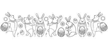 Lycklig påskgräns för vektor med det översiktseaster kanin, ägget och korgen som isoleras på vit bakgrund Tecknad filmbeståndsdel Arkivbild