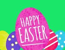 Lycklig påskhälsning med kulöra målade ägg för vatten stock illustrationer