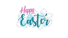 Lycklig påskhälsningdesign med äggbakgrund stock illustrationer
