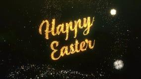 Lycklig påskhälsningtext som göras från ljus mörk natthimmel för tomtebloss med det Colorfull fyrverkerit royaltyfri illustrationer