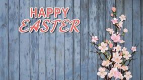 Lycklig påsktext på blå träbakgrund med filialer av blomningen Sakura And Pink Cherry Flowers för hälsningkort eller Commercia stock illustrationer