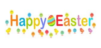 Lycklig påsktext som dekoreras med fågelungar och ägg Arkivfoto