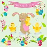 Lycklig påskuppsättning av beståndsdelar Gullig kanin och fågelungar med påsk Arkivfoto