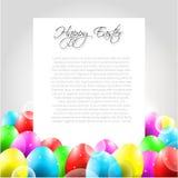 Lycklig påskvektorbokstav med färgrika ägg royaltyfri illustrationer