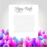 Lycklig påskvektorbokstav med purpurfärgade ägg stock illustrationer