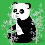 Lycklig panda i en bambudunge en vektor stock illustrationer