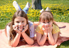 lycklig parksysterfjäder Royaltyfria Bilder