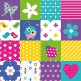 Lycklig patchworkmodellsamling Royaltyfri Foto