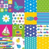 Lycklig patchworkmodellsamling Arkivbilder